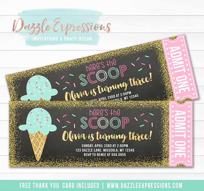 Ice Cream Chalkboard Ticket Invitation 2 - FREE thank you card included