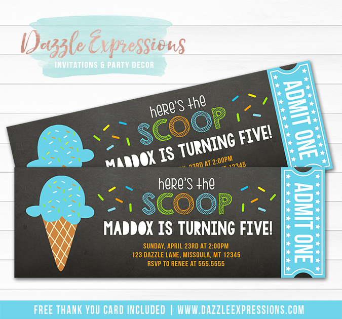 Printable Ice Cream Chalkboard Ticket Birthday Invitation
