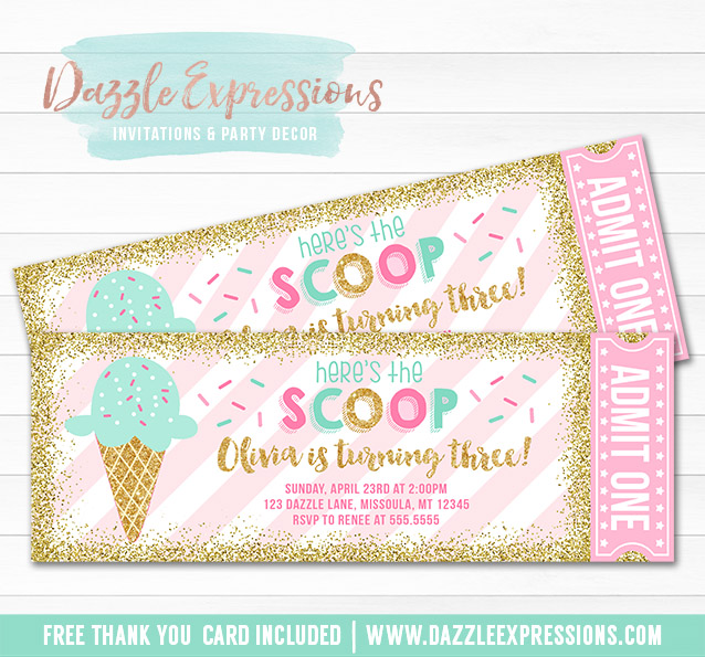 Ice Cream Glitter Ticket Invitation 2