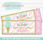 Ice Cream Glitter Ticket Invitation 2 - FREE thank you card