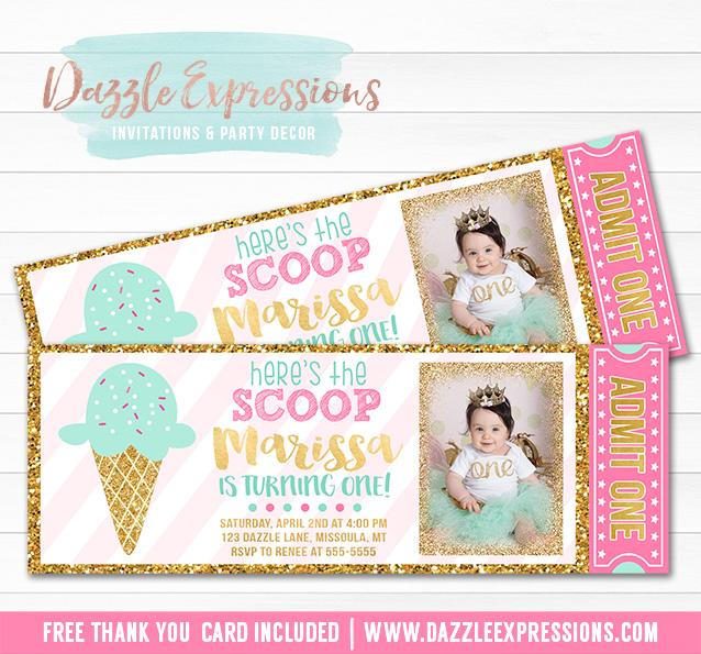 Ice Cream Glitter Ticket Invitation 3 - FREE thank you card