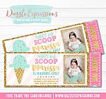Ice Cream Glitter Ticket Invitation 3 - FREE thank you card