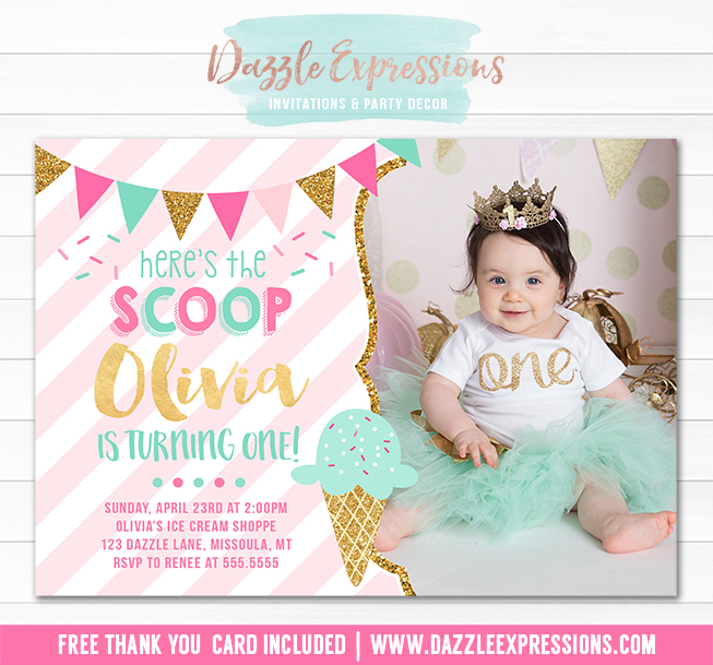 Ice Cream Birthday Invitation 5