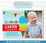 Ice Cream Birthday Invitation 7 - FREE thank you card