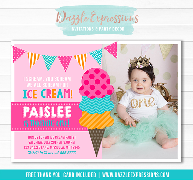 ice cream birthday invitation 8 free thank you card