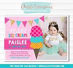 Ice Cream Birthday Invitation 8 - FREE thank you card