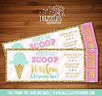 Ice Cream Glitter Ticket Invitation 1 - FREE thank you card