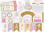 Ice Cream Glitter Complete Party Package - Printable