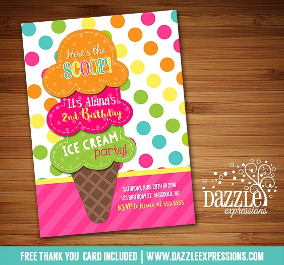 Ice Cream Birthday Invitation 3