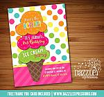 Ice Cream Birthday Invitation 3 - Thank You Card Included