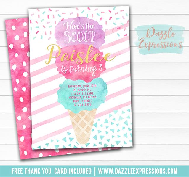 Printable Watercolor Ice Cream Cone Birthday Invitation Sundae