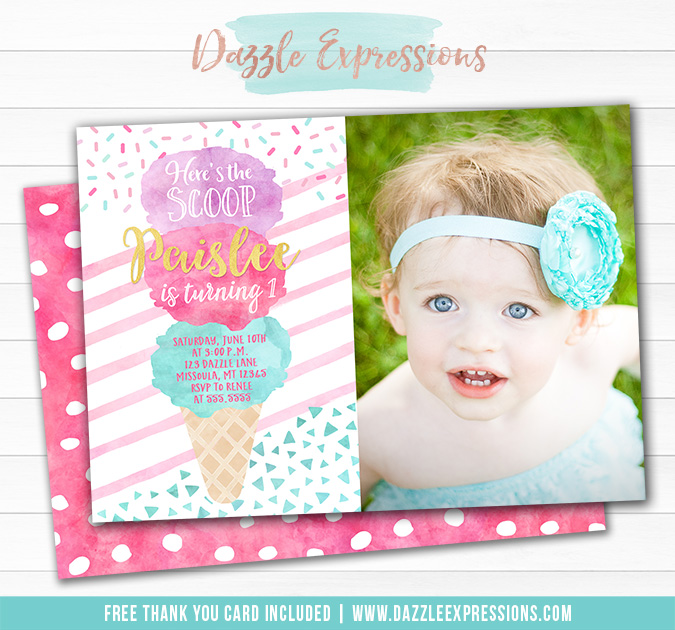 Ice Cream Watercolor Invitation 2 - FREE thank you card