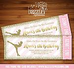 Ice Skating Pink and Gold Glitter Ticket Invitation - FREE thank you card