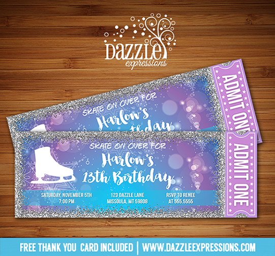 Printable Glitter Ice Skating Ticket Birthday Invitation Winter