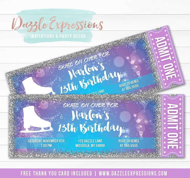 Ice Skating Ticket Invitation 4 - FREE thank you card included