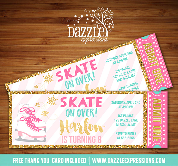 Printable Pink and Gold Ice Skating Ticket Birthday ...