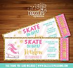 Ice Skating Ticket Invitation 3 - FREE thank you card included