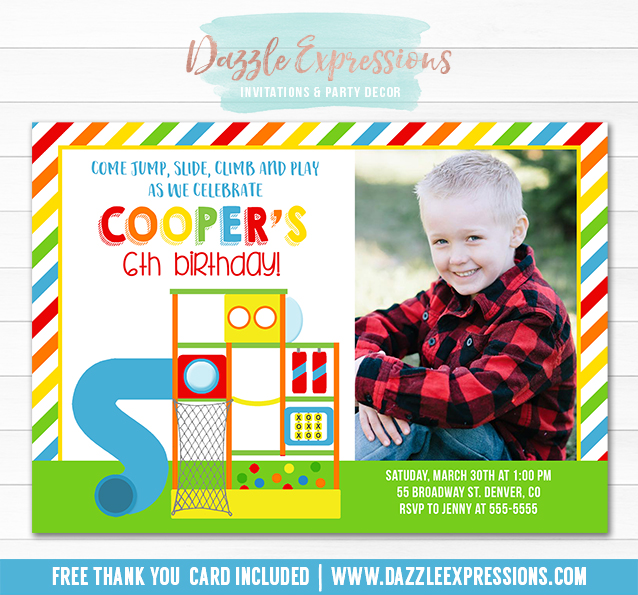 Printable indoor playground birthday invitation kids park party indoor playground invitation 2 free thank you card included filmwisefo