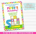 Indoor Playground Invitation 3 - FREE thank you card included