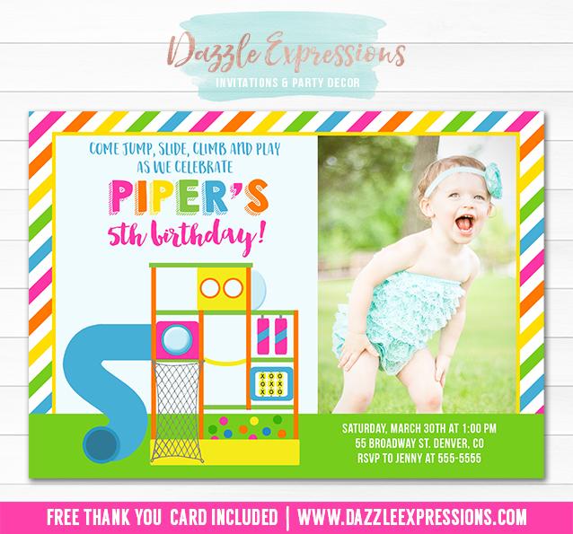 Printable Indoor Playground Birthday Invitation Girls Park Party