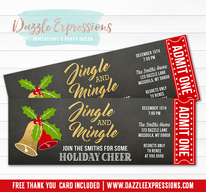 Printable Jingle And Mingle Holiday Party Ticket Invitation  Red