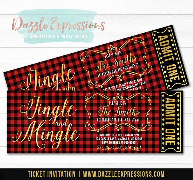 Jingle and Mingle Plaid Holiday Party Ticket Invitation