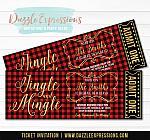 Jingle and Mingle Plaid Holiday Party Ticket Invitation