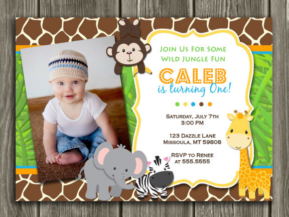 Printable kids jungle birthday photo invitation boy birthday jungle birthday invitation thank you card included stopboris Choice Image