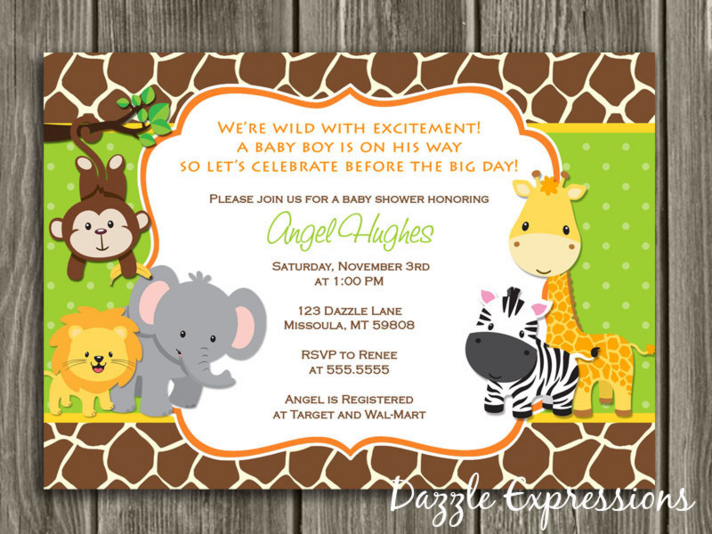 jungle baby shower invitation thank you card included