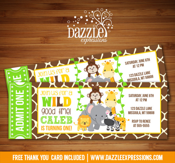 Printable kids jungle ticket birthday invitation zoo party free jungle ticket birthday invitation free thank you card included filmwisefo
