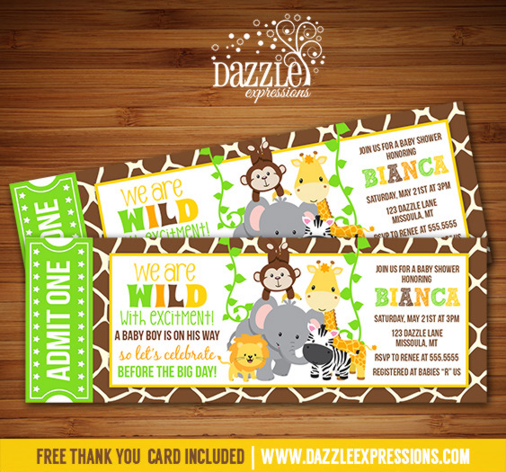 Printable jungle baby shower ticket invitation zoo safari jungle ticket baby shower invitation free thank you card filmwisefo Image collections