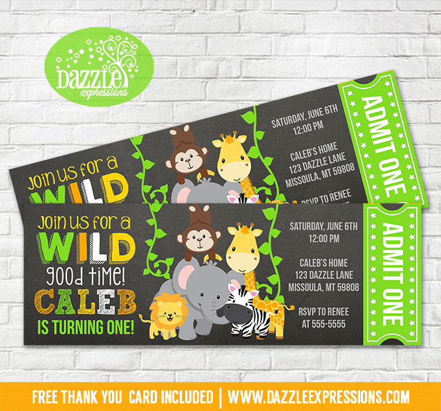 Printable Jungle Chalkboard Ticket Birthday Invitation ...