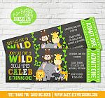 Jungle Chalkboard Ticket Invitation - FREE thank you card