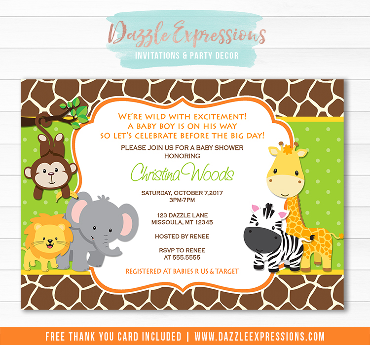 Jungle Baby Shower Invitation 1 - FREE Thank You Card Included