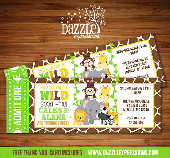 Printable twins jungle ticket birthday invitation double party jungle ticket birthday invitation double party free thank you card stopboris Choice Image