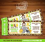 Jungle Ticket Birthday Invitation - Double Party - FREE thank you card