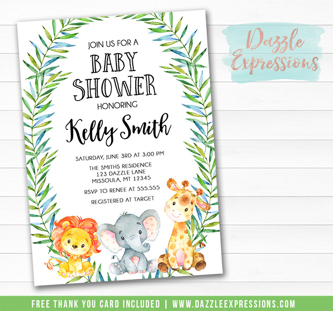 Jungle Watercolor Baby Shower Invitation - FREE thank you card