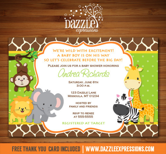 Jungle baby shower invitation giraffe printable for Baby shower party junge