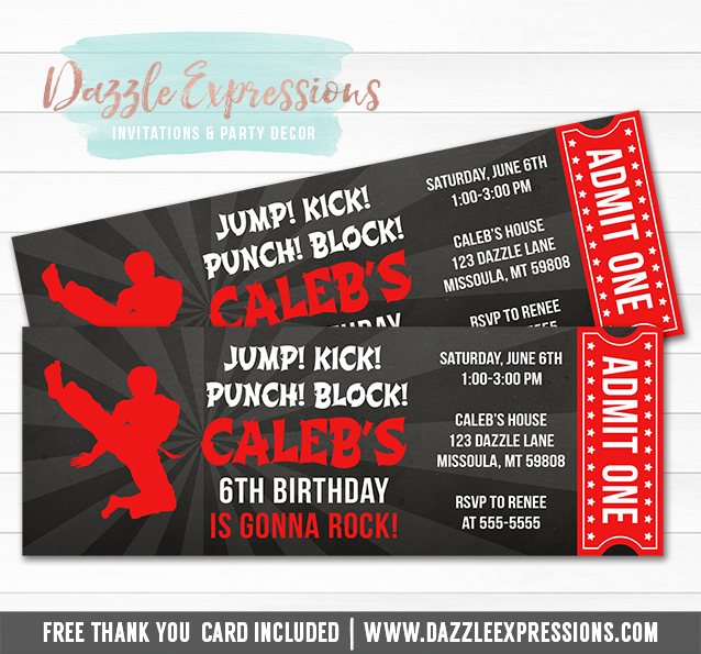 printable karate chalkboard ticket birthday invitation martial