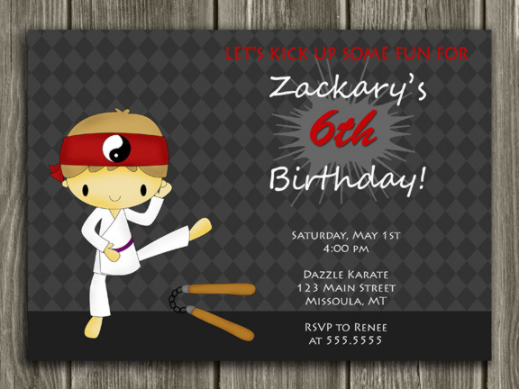 Printable Kids Karate Birthday Invitation Ninja Boy Birthday – Free Animated Birthday Invitations
