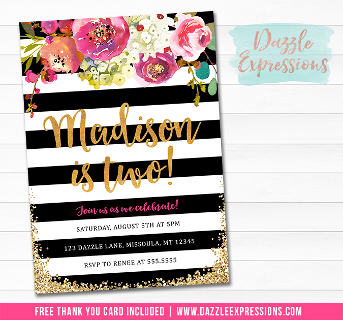 Floral with Black and White Stripes Invitation 1 - FREE thank you card