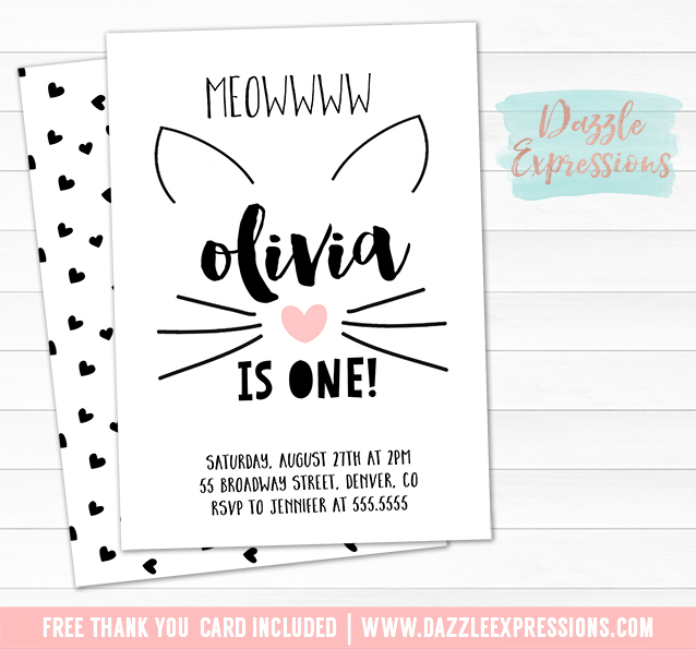 Printable Kitten Birthday Invitation