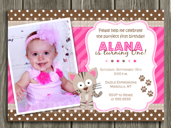 Kitten Invitation 4 - Thank You Card Included