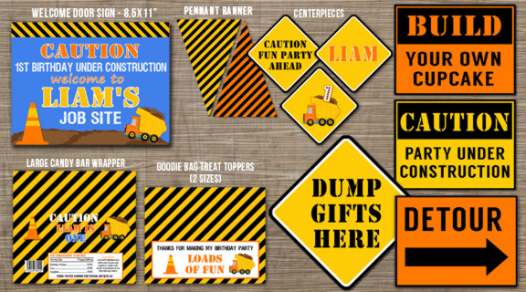 Road Construction/Dump Truck Complete Party Package