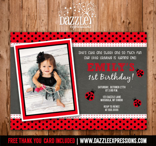 Ladybug Chalkboard Birthday Invitation - FREE thank you card included