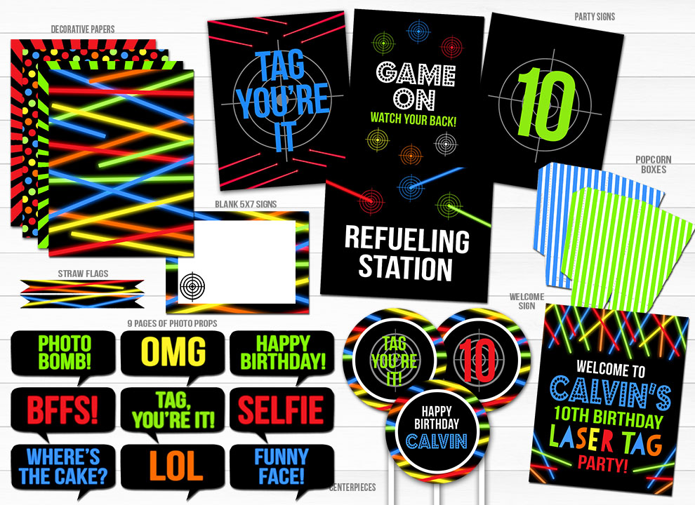 Laser Tag Complete Party Package - Printable