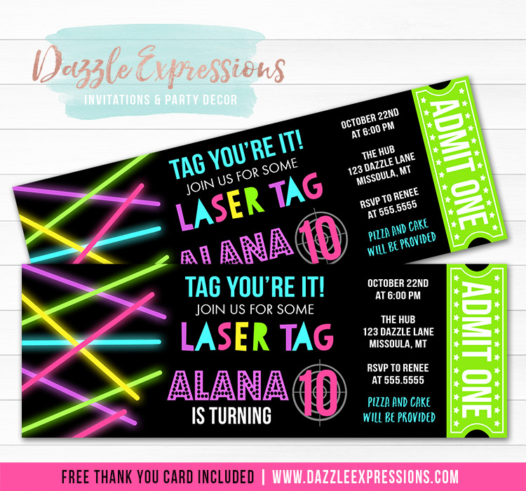 Laser Tag Ticket Invitation 2 - FREE thank you card