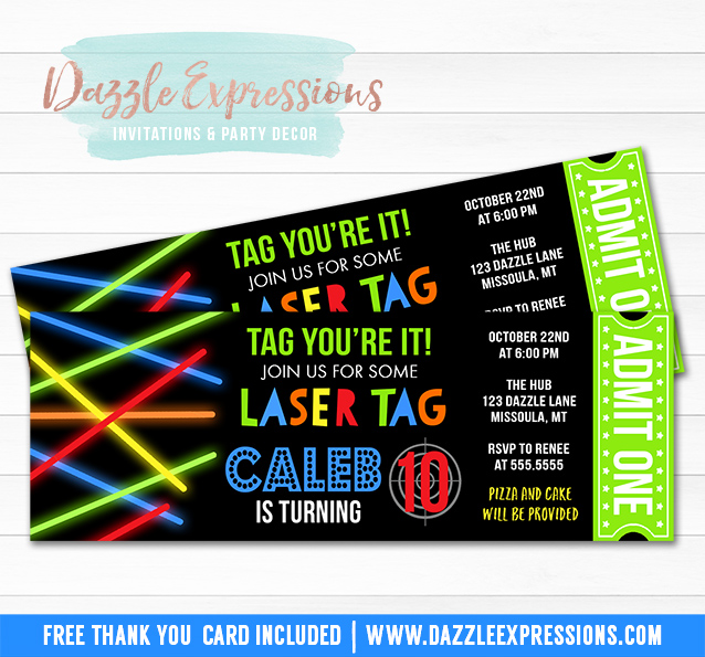 printable glow laser tag ticket birthday invitation - kids arcade, Party invitations