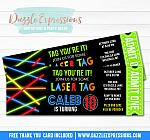 Laser Tag Ticket Invitation - FREE thank you card included