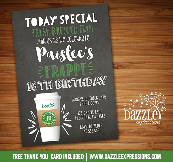 Printable Coffee Latte Chalkboard Birthday Invitation  Starbucks